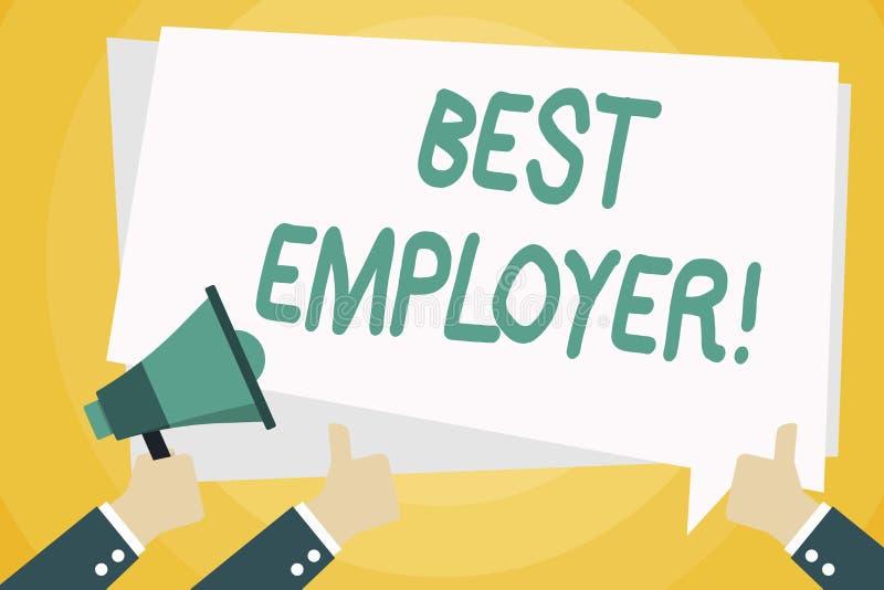 Sinal do texto que mostra o melhor empregador Foto conceptual que cria uma cultura onde os empregados sintam mão avaliada e aprec ilustração do vetor