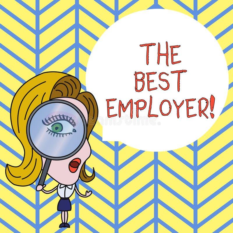 Sinal do texto que mostra o melhor empregador A foto conceptual criou a sensação da exibição do local de trabalho ouvida e autori ilustração royalty free