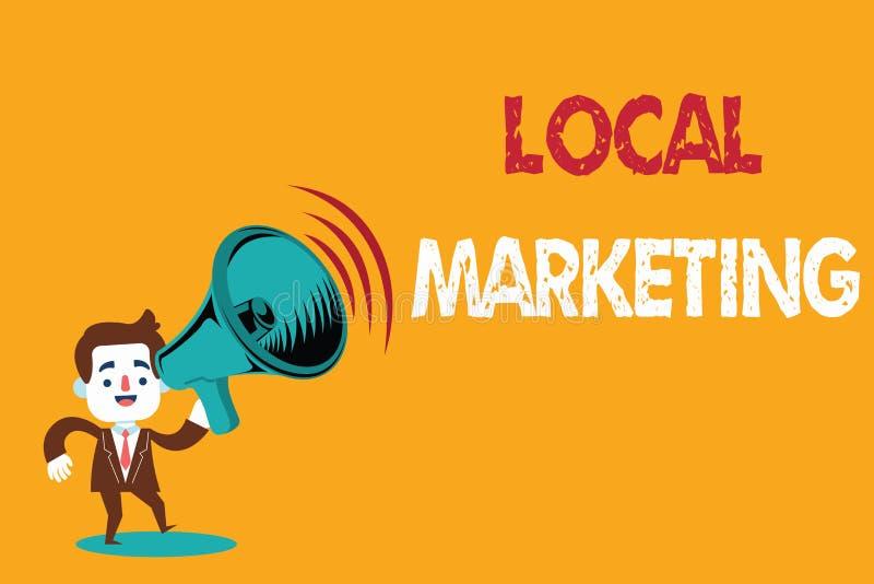 Sinal do texto que mostra o mercado local Negócio local conceptual da foto A onde uma compra e uma venda do produto na base da ár ilustração do vetor