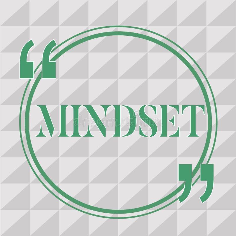 Sinal do texto que mostra o Mindset Foto conceptual o grupo estabelecido de atitudes guardou por alguém a atitude positiva ilustração royalty free