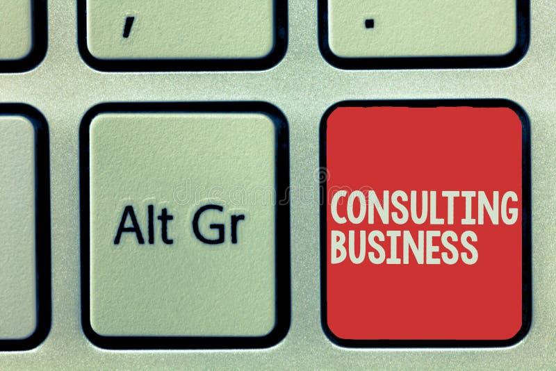 Sinal do texto que mostra o negócio de consulta Os peritos conceptuais da empresa de consulta da foto dão o conselho profissional foto de stock