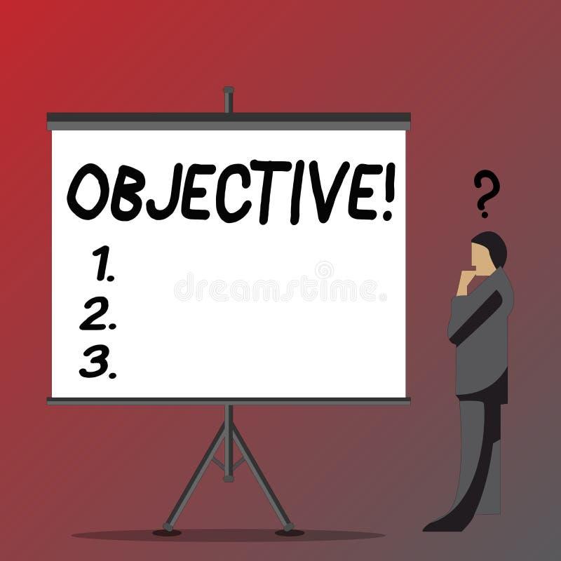 Sinal do texto que mostra o objetivo Objetivo conceptual da foto de planeamento ser homem de negócios desejado conseguido da miss ilustração stock