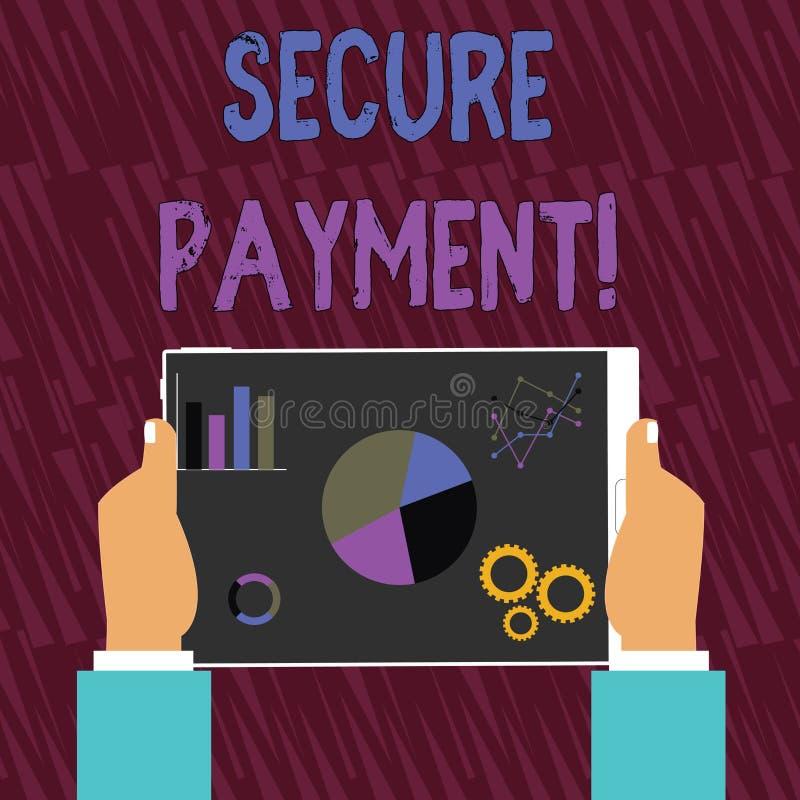 Sinal do texto que mostra o pagamento seguro O Web page conceptual da foto onde os números de cartão de crédito são incorporados  ilustração royalty free
