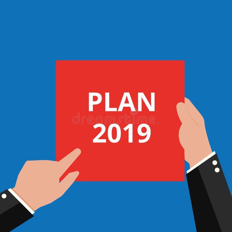Sinal do texto que mostra o plano 2019 ilustração royalty free