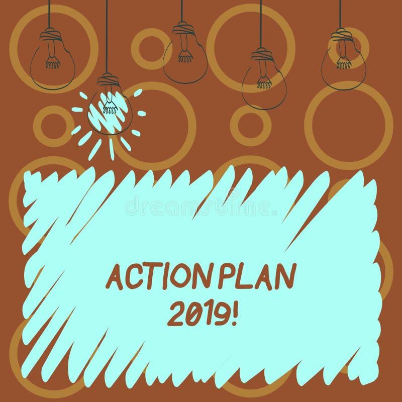 Sinal do texto que mostra o plano de ação 2019 Objetivos conceptuais das ideias do desafio da foto para que a motivação do ano no ilustração do vetor