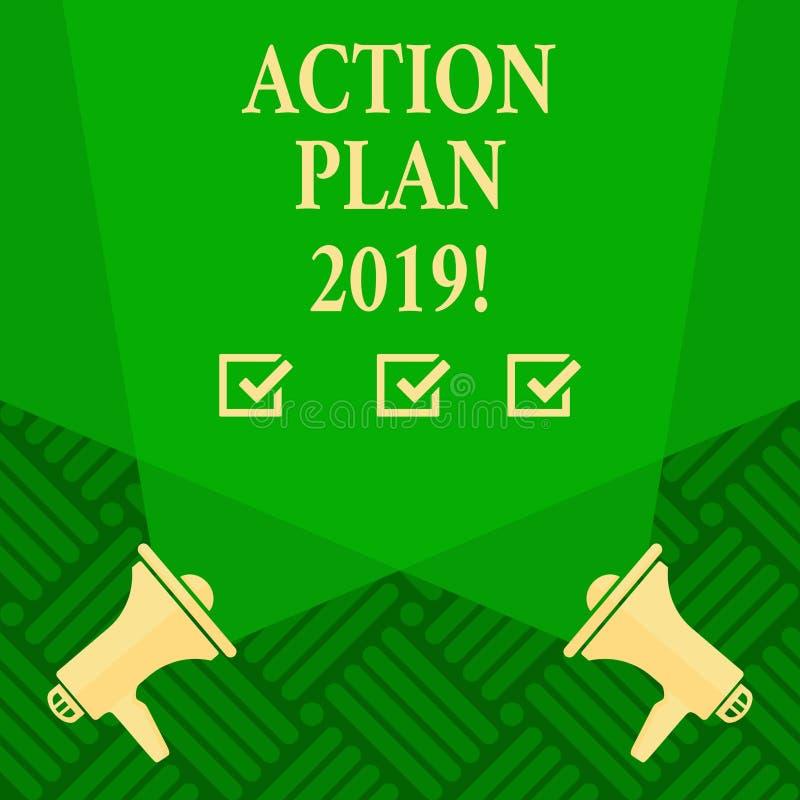Sinal do texto que mostra o plano de ação 2019 Objetivos conceptuais das ideias do desafio da foto para que a motivação do ano no ilustração stock
