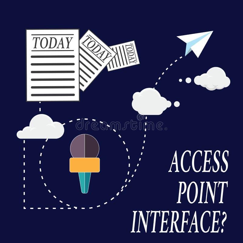 Sinal do texto que mostra o ponto de acesso Interfacequestion A foto conceptual permite que o dispositivo sem fios conecte a uma  fotografia de stock royalty free
