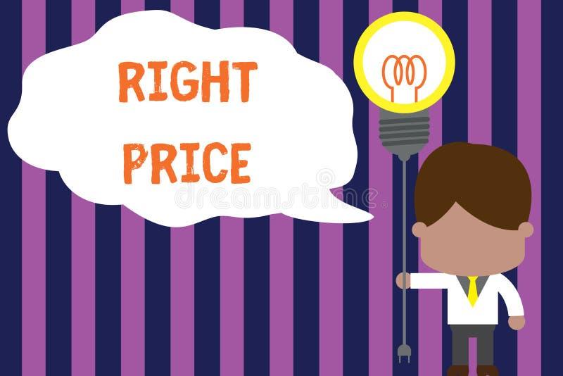 Sinal do texto que mostra o preço direito Foto conceptual a quantidade de dinheiro que é razoável para o homem da posição do prod ilustração royalty free