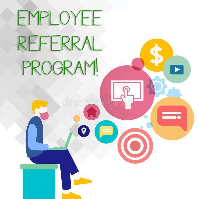 Sinal do texto que mostra o programa da referência do empregado A foto conceptual recomenda o homem adequado do cargo do trabalho ilustração royalty free