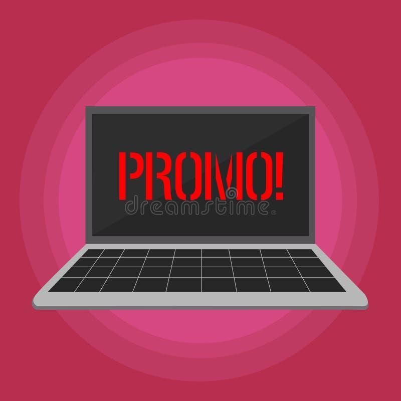 Sinal do texto que mostra o Promo Parte conceptual da foto de anunciar o portátil da venda da oferta especial do desconto com pro ilustração stock