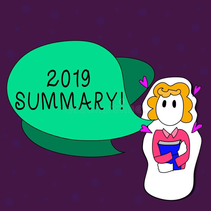 Sinal do texto que mostra o sumário 2019 Foto conceptual que resume ações principais dos eventos passados do ano ou a boa terra a ilustração do vetor