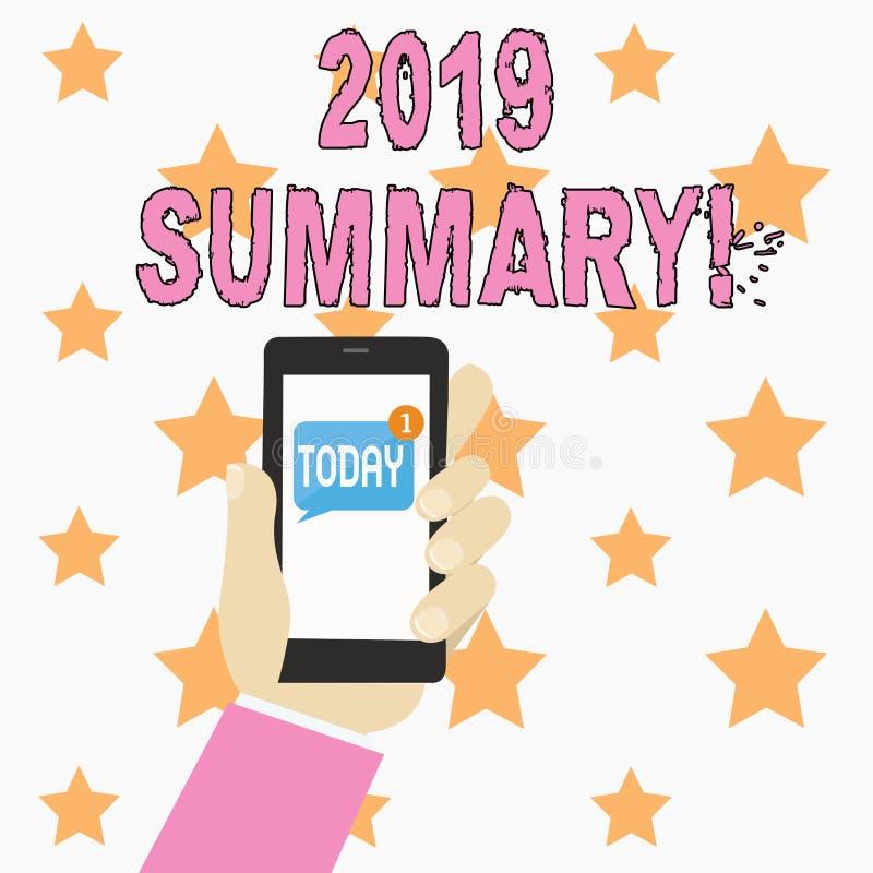 Sinal do texto que mostra o sumário 2019 Foto conceptual que resume ações principais dos eventos passados do ano ou a mão humana  ilustração royalty free