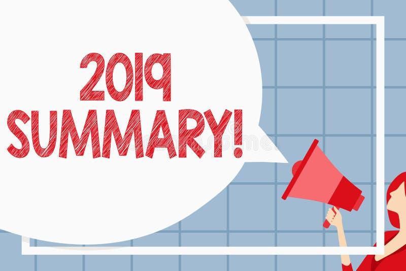 Sinal do texto que mostra o sumário 2019 Foto conceptual que resume ações principais dos eventos passados do ano ou a placa enorm ilustração royalty free
