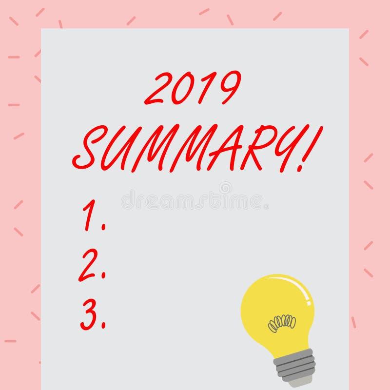 Sinal do texto que mostra o sumário 2019 Foto conceptual que resume as ações principais dos eventos passados do ano ou as boas mo ilustração royalty free