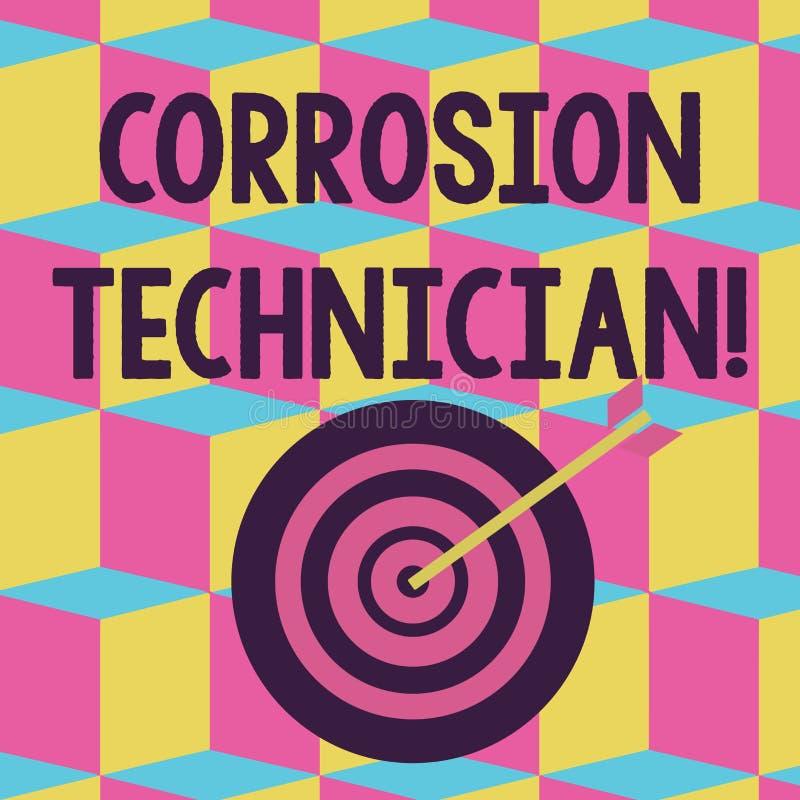 Sinal do texto que mostra o técnico da corrosão Cor dos sistemas de controlo da corrosão conceptual da instalação e da manut ilustração stock