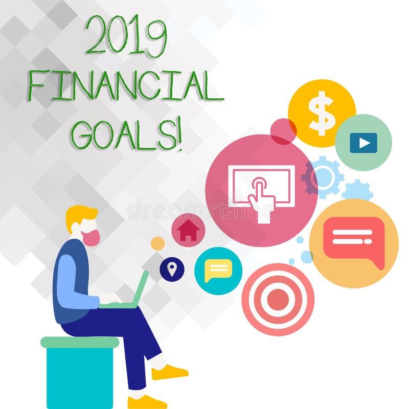 Sinal do texto que mostra 2019 objetivos financeiros Estratégia empresarial nova da foto conceptual para ganhar a mais lucros men ilustração do vetor