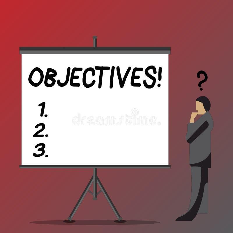 Sinal do texto que mostra objetivos Os objetivos conceptuais da foto planejaram ser homem de negócios desejado conseguido das mis ilustração do vetor