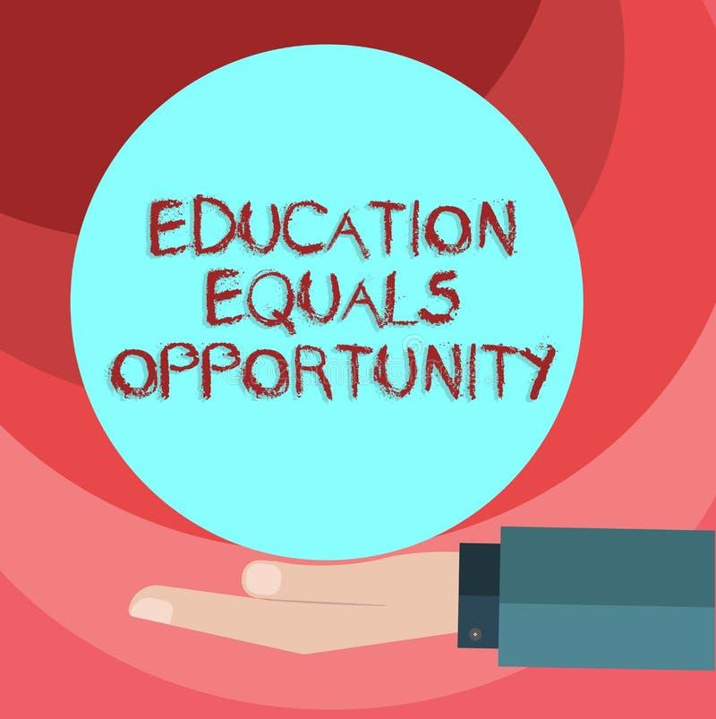 Sinal do texto que mostra a oportunidade de iguais da educação Direitos similares da foto conceptual de ganhar o conhecimento em  ilustração do vetor