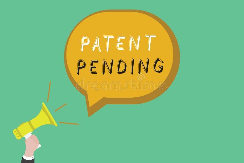 Sinal do texto que mostra a patente pendente Pedido conceptual da foto já arquivado mas concedido não ainda a prossecução da prot ilustração stock
