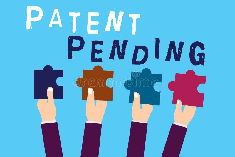 Sinal do texto que mostra a patente pendente Pedido conceptual da foto já arquivado mas concedido não ainda a prossecução da prot ilustração do vetor