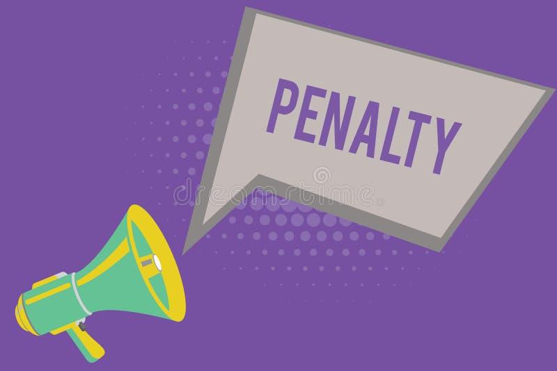 Sinal do texto que mostra a pena A punição conceptual da foto impôs quebrando um termo dos esportes da regra ou do contrato da le ilustração royalty free