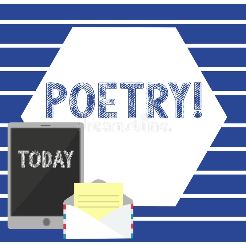 Sinal do texto que mostra a poesia Expressão conceptual do trabalho literário da foto de ideias dos sentimentos com a escrita dos ilustração stock