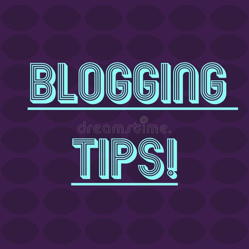 Sinal do texto que mostra pontas publicando em blogs Ideias conceptuais da foto em como melhorar a discussão ou o Web site inform ilustração do vetor