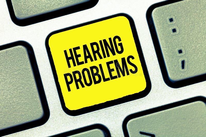 Sinal do texto que mostra problemas da audição A foto conceptual é incapacidade parcial ou total escutar normalmente sons imagem de stock royalty free