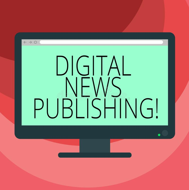 Sinal do texto que mostra a publicação da notícia de Digitas Relatório eletrônico da transmissão da foto conceptual da placa atua ilustração royalty free