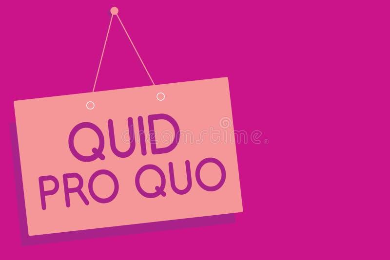 Sinal do texto que mostra quid pro quo Favor ou vantagem conceptual da foto A concedido ou esperado em retorno de algo a parede m ilustração royalty free