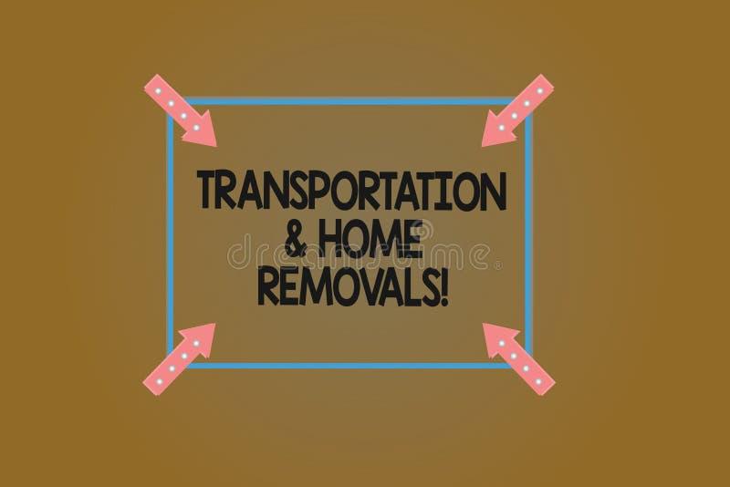 Sinal do texto que mostra remoções do transporte e da casa Esboço de envio móvel do quadrado da casa nova dos pacotes da foto con ilustração stock