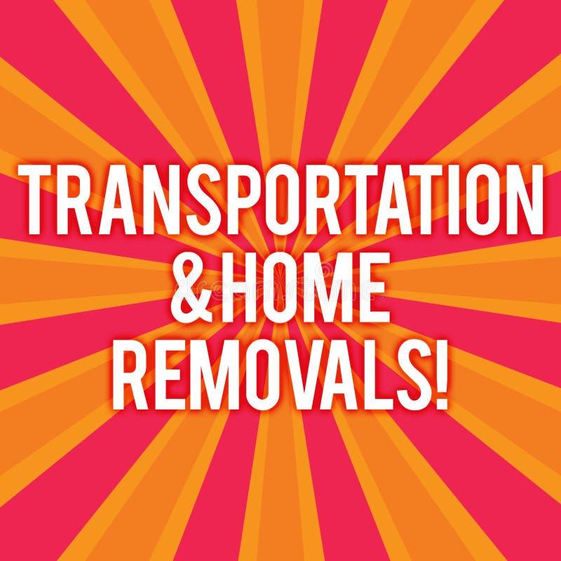 Sinal do texto que mostra remoções do transporte e da casa Foto Sunburst de envio móvel da casa nova dos pacotes da foto conceptu ilustração do vetor