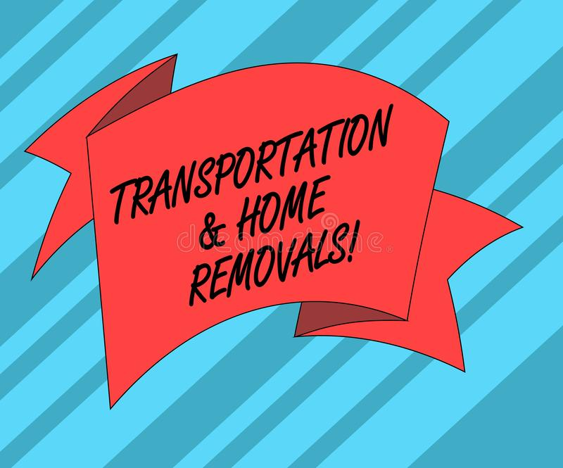 Sinal do texto que mostra remoções do transporte e da casa A casa nova de envio móvel dos pacotes da foto conceptual dobrou a fit ilustração royalty free