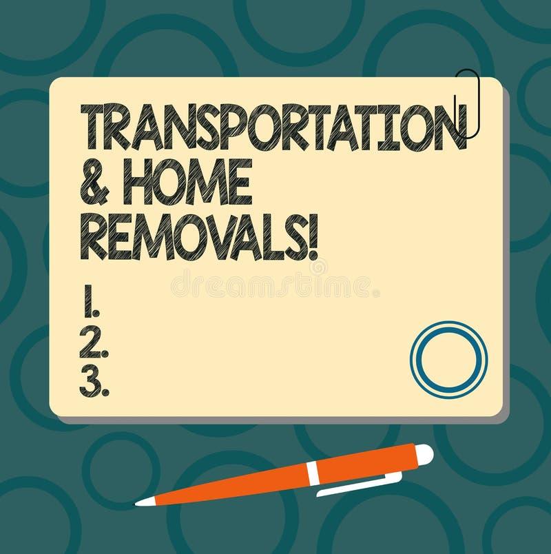 Sinal do texto que mostra remoções do transporte e da casa Quadrado de envio móvel da placa da casa nova dos pacotes da foto conc ilustração royalty free