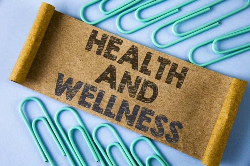 Sinal do texto que mostra a saúde e o bem-estar E fotografia de stock