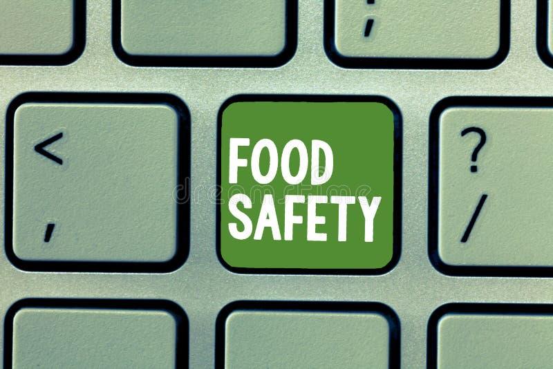 Sinal do texto que mostra a segurança alimentar Condições e práticas conceptuais da foto que preservam a qualidade do alimento imagens de stock