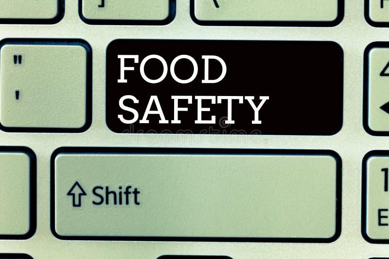 Sinal do texto que mostra a segurança alimentar Condições e práticas conceptuais da foto que preservam a qualidade do alimento foto de stock royalty free