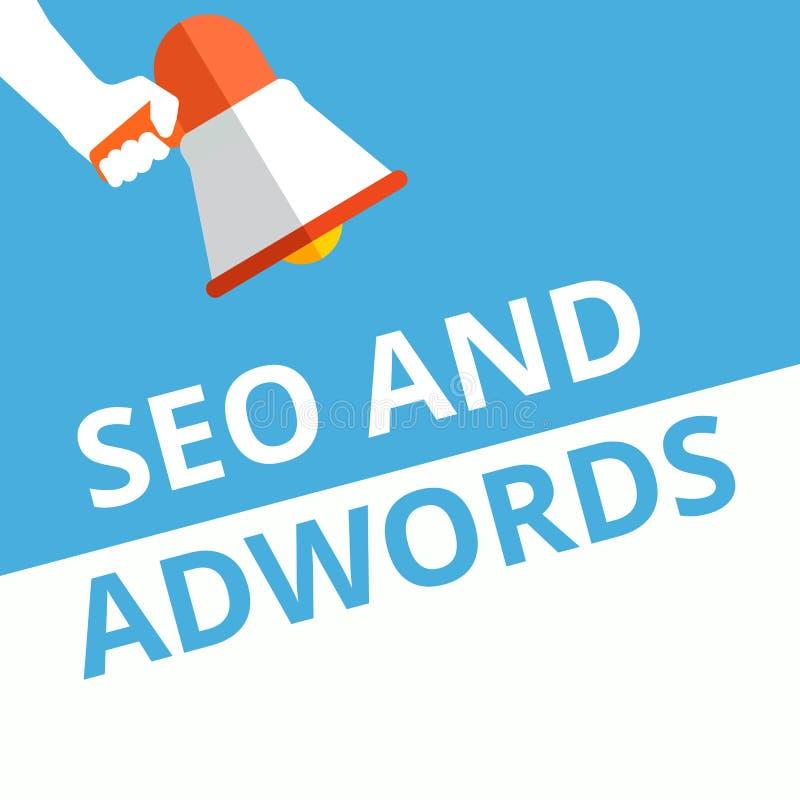 Sinal do texto que mostra Seo e Adwords ilustração stock