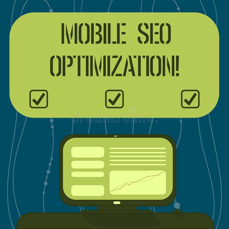 Sinal do texto que mostra Seo Optimization móvel A foto conceptual permite um Web site de classificar para as buscas móveis monta ilustração stock