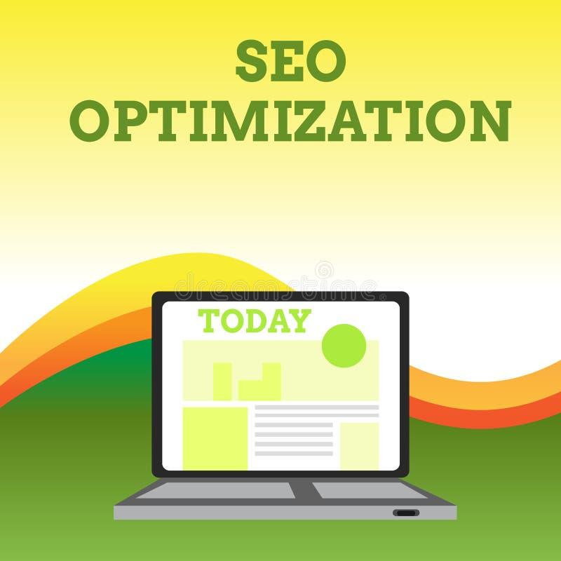 Sinal do texto que mostra Seo Optimization O processo conceptual da foto de afetar a visibilidade em linha do Web site ou a págin ilustração do vetor