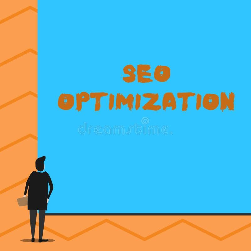 Sinal do texto que mostra Seo Optimization Processo conceptual da foto de afetar a visibilidade em linha do homem do Web site ou  ilustração do vetor
