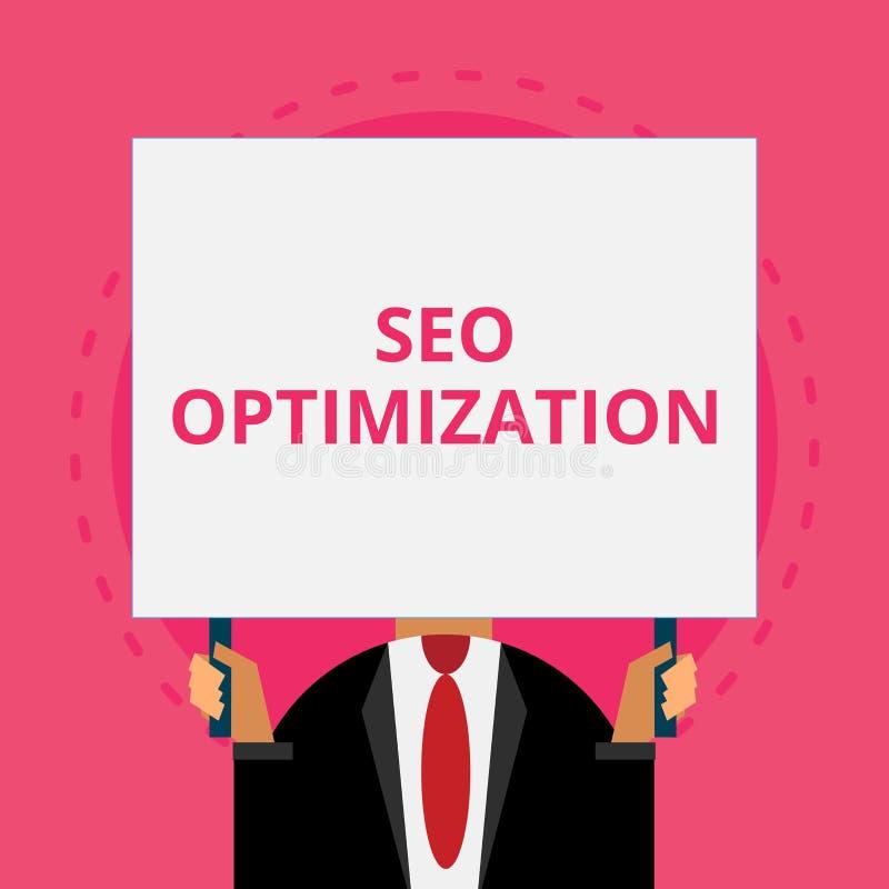 Sinal do texto que mostra Seo Optimization Processo conceptual da foto de afetar a visibilidade em linha do Web site ou da página ilustração stock
