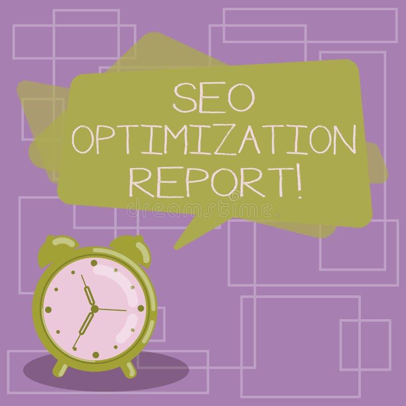 Sinal do texto que mostra Seo Optimization Report Vista geral conceptual da foto de um perforanalysisce do Web site no Search Eng ilustração royalty free