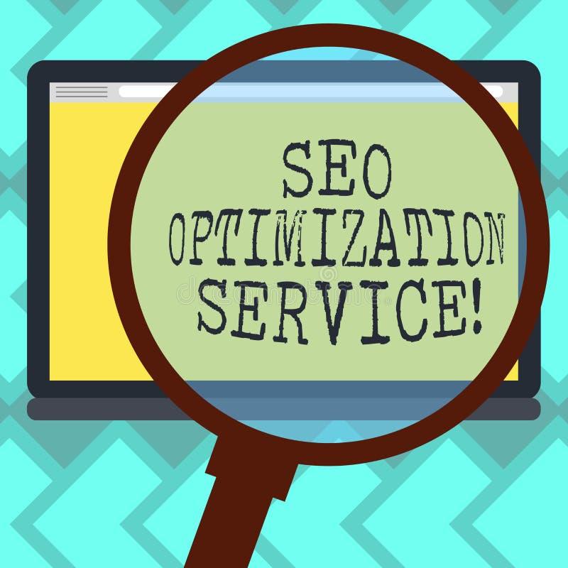 Sinal do texto que mostra Seo Optimization Service Alvo conceptual da foto para aumentar a visibilidade de um Web site que amplia ilustração royalty free