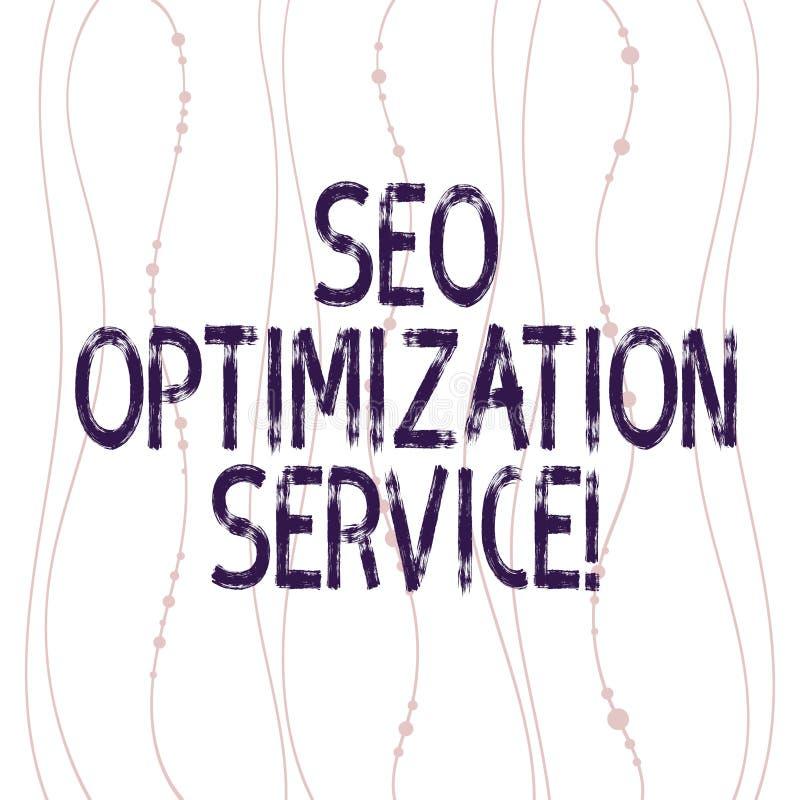Sinal do texto que mostra Seo Optimization Service O alvo conceptual da foto para aumentar a visibilidade de um vertical do Web s ilustração stock