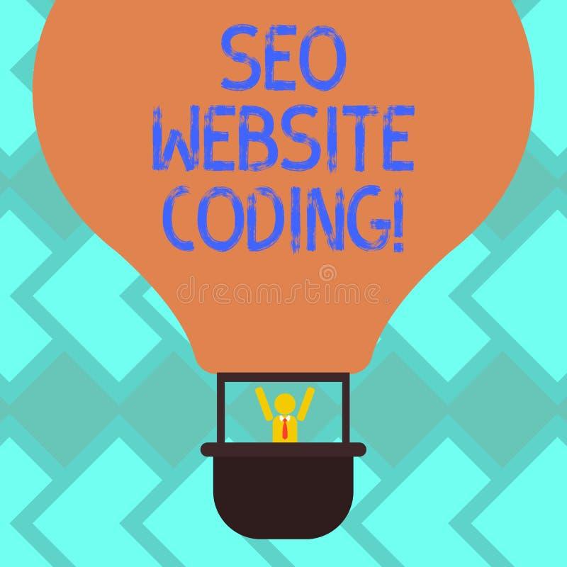 Sinal do texto que mostra Seo Website Coding A foto conceptual cria o local na maneira para fazê-la mais visível ao Search Engine ilustração royalty free
