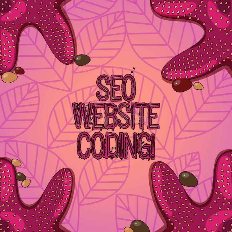 Sinal do texto que mostra Seo Website Coding A foto conceptual cria o local na maneira para fazê-la sobre mais visível à foto da  ilustração do vetor