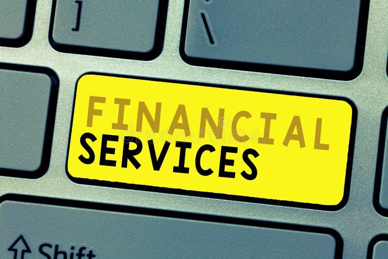 Sinal do texto que mostra serviços financeiros Dinheiro conceptual da foto e agências corretoras dos estoques de empréstimo do al fotos de stock