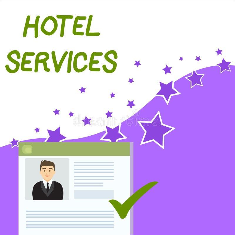 Sinal do texto que mostra servi?os de hotel Cortesias conceptuais das facilidades da foto de um currículo da casa da acomodação e ilustração do vetor