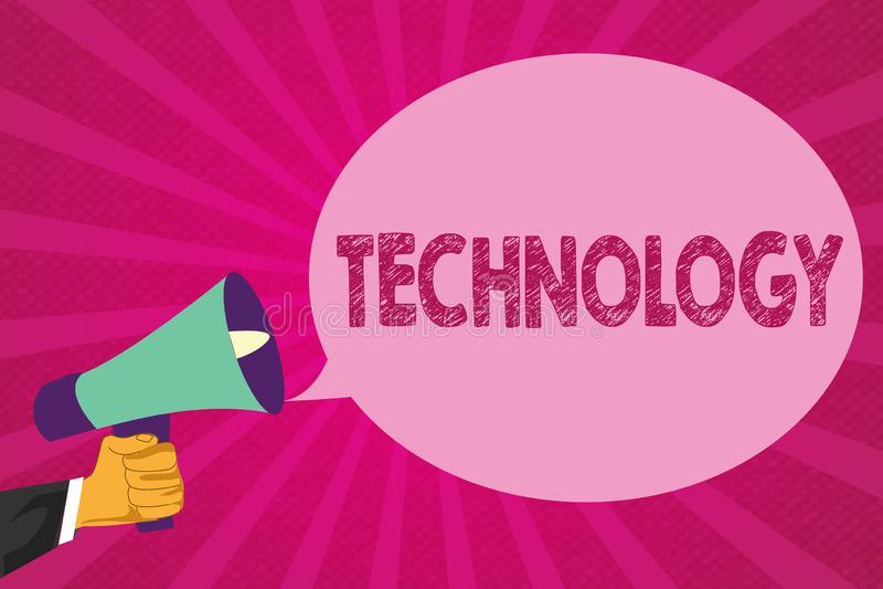 Sinal do texto que mostra a tecnologia Aplicação conceptual da foto do conhecimento científico para finalidades práticas ilustração royalty free